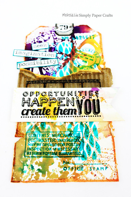 Meihsia Liu Simply Paper Crafts Mixed Media Tag Layered background embellishments Tim Holtz  Opportunities 2