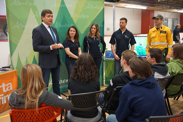 Agriculture and Forestry Minister Oneil Carlier discusses the enhancements to wildfire protection legislation and regulations with participants at the Forest Industries Career Day 2017 in Whitecourt