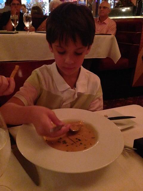 Shugie having Crab Bisque atJeff Ruby's Steakhouse, Cincinnati OH
