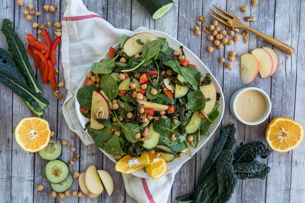 Roasted Kale Salad w/ Easy Hummus Dressing {oil-free} sweetsimplevegan.com #kale #hummus #kalesalad #30daysofgreen #healthychallenge #easyvegan #kalehack