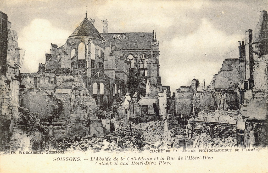 soissons in picardy france damage to cathedral postcard v flickr