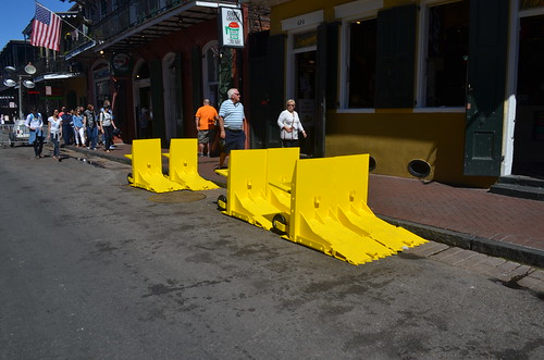 Yellow wheelie bollards