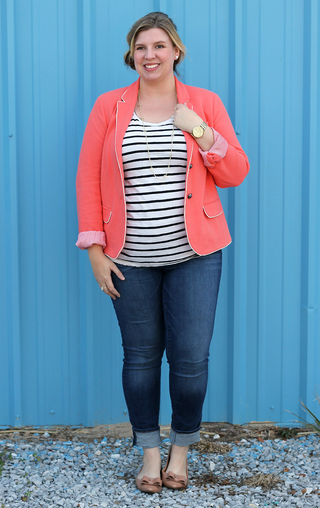 coral blazer, stripe tee and skinny jeans 3