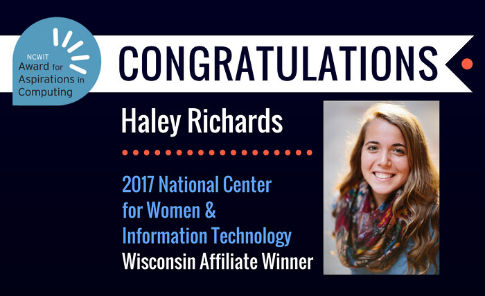 Haley Richards wins NCWIT Award!