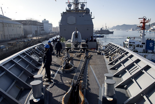 PACIFIC OCEAN – The Ticonderoga-class guided-missile cruiser USS Lake Champlain (CG 57) arrived in Sasebo, Japan for a port visit, March 3.