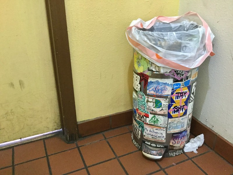 Men's Room Trashcan at Winning Coffee