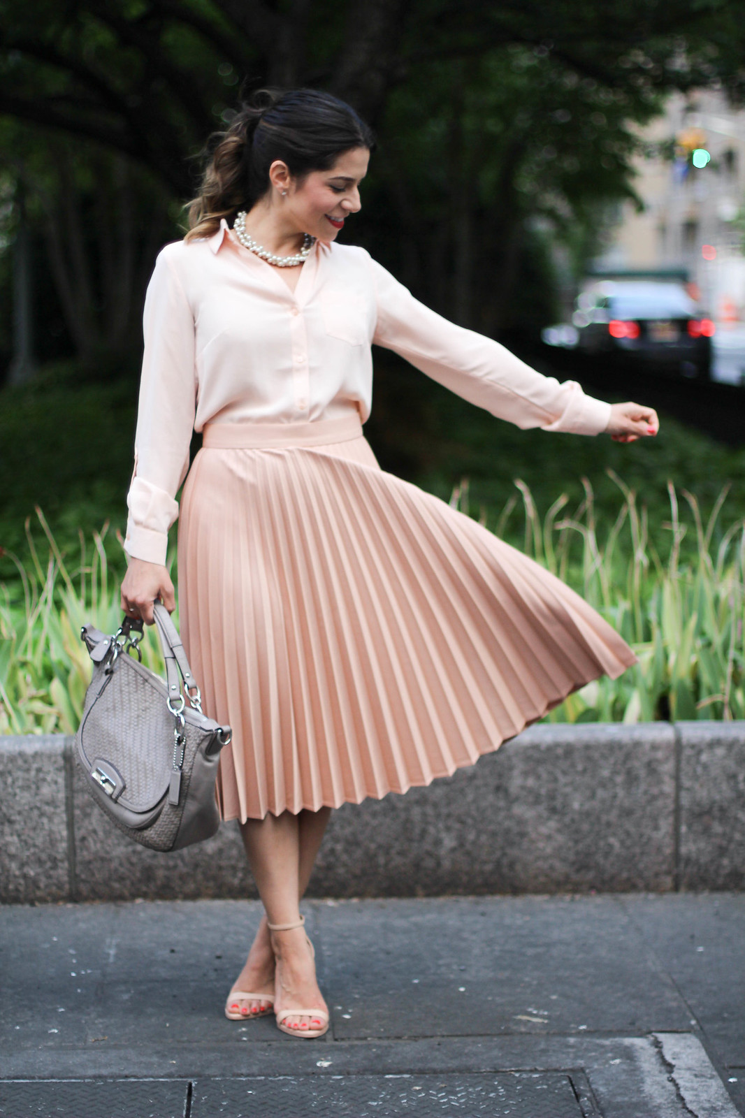 What To Wear To Work Pleated Midi Skirt Olivia Jeanette