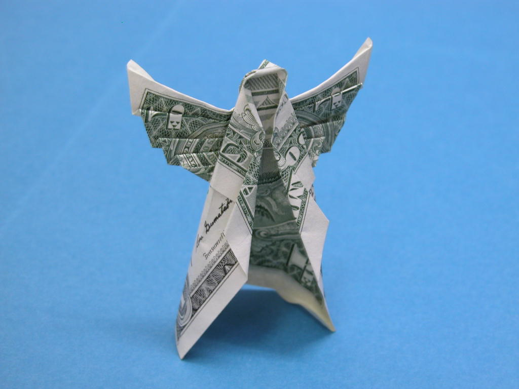 Dollar bill angel | Design: me? Made with one dollar bill ... - photo#29