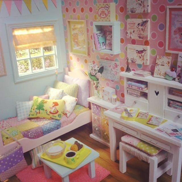 happy rainbow bedroom diorama kawaii dollhouse miniature rainbow