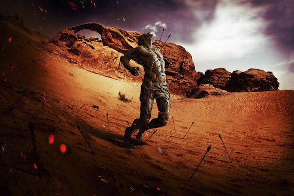 """How to create a scene with the effect of """"fish eye"""" and a Spartan in Photoshop"""
