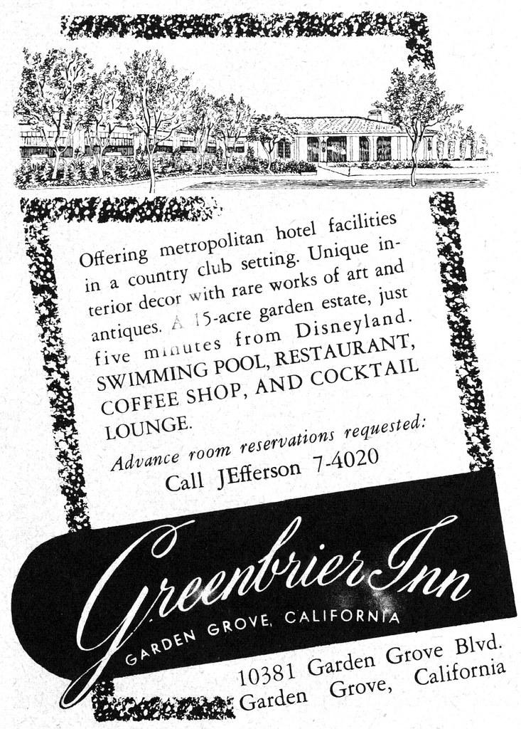 Greenbrier Inn, Garden Grove, California, 1958 | Tom Simpson | Flickr