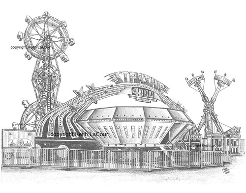 Starship 4000 Carnival Ride Pencil Drawing By Keith