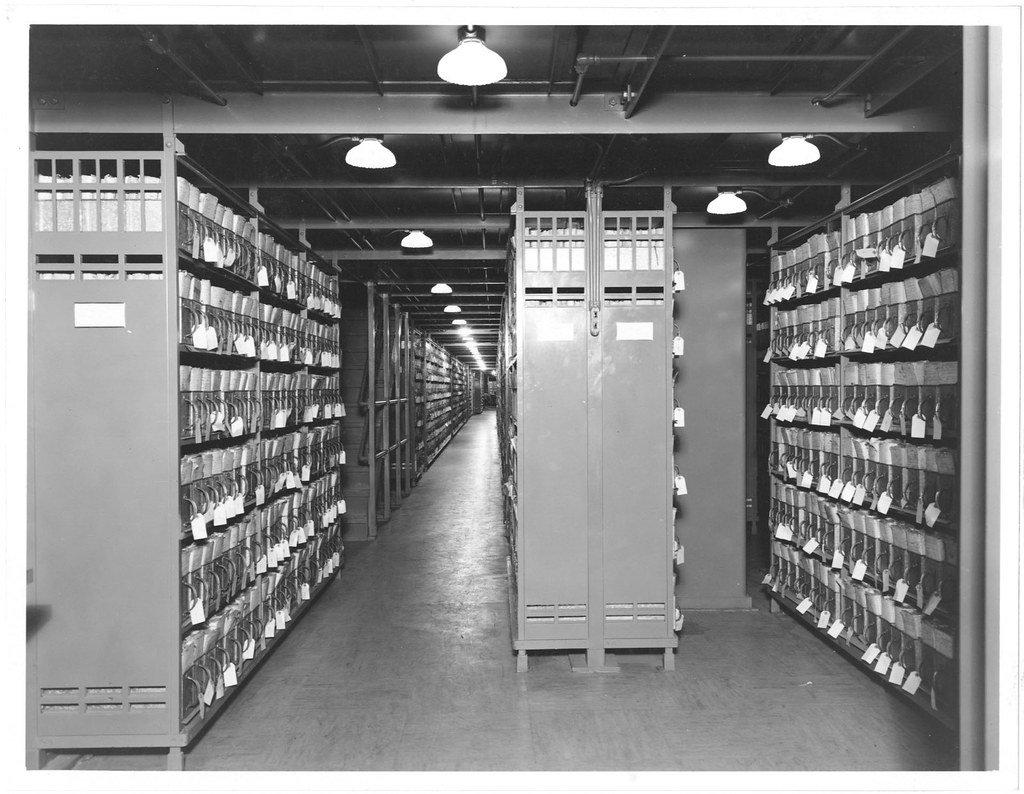 Photograph of veteran 39 s bureau records in stack areas 06 for Bureau records