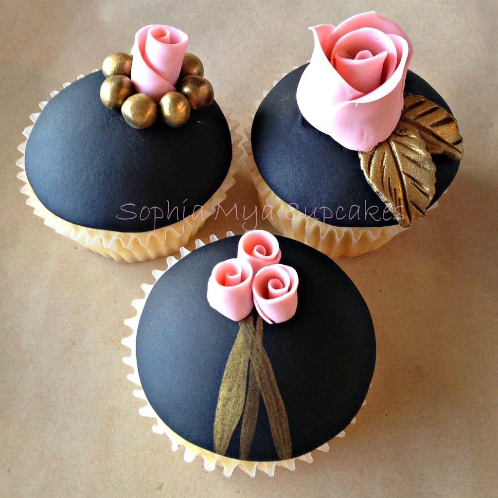 Pink Black And Gold Cupcakes Sophia Mya Cupcakes Flickr