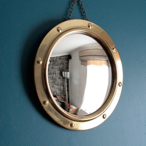 Sold vintage porthole style convex mirror by peerage for Porthole style mirror