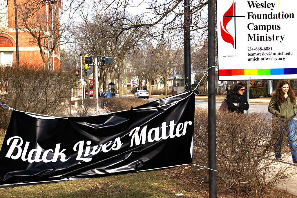Black Lives Matter banner outside church--Ann Arbor