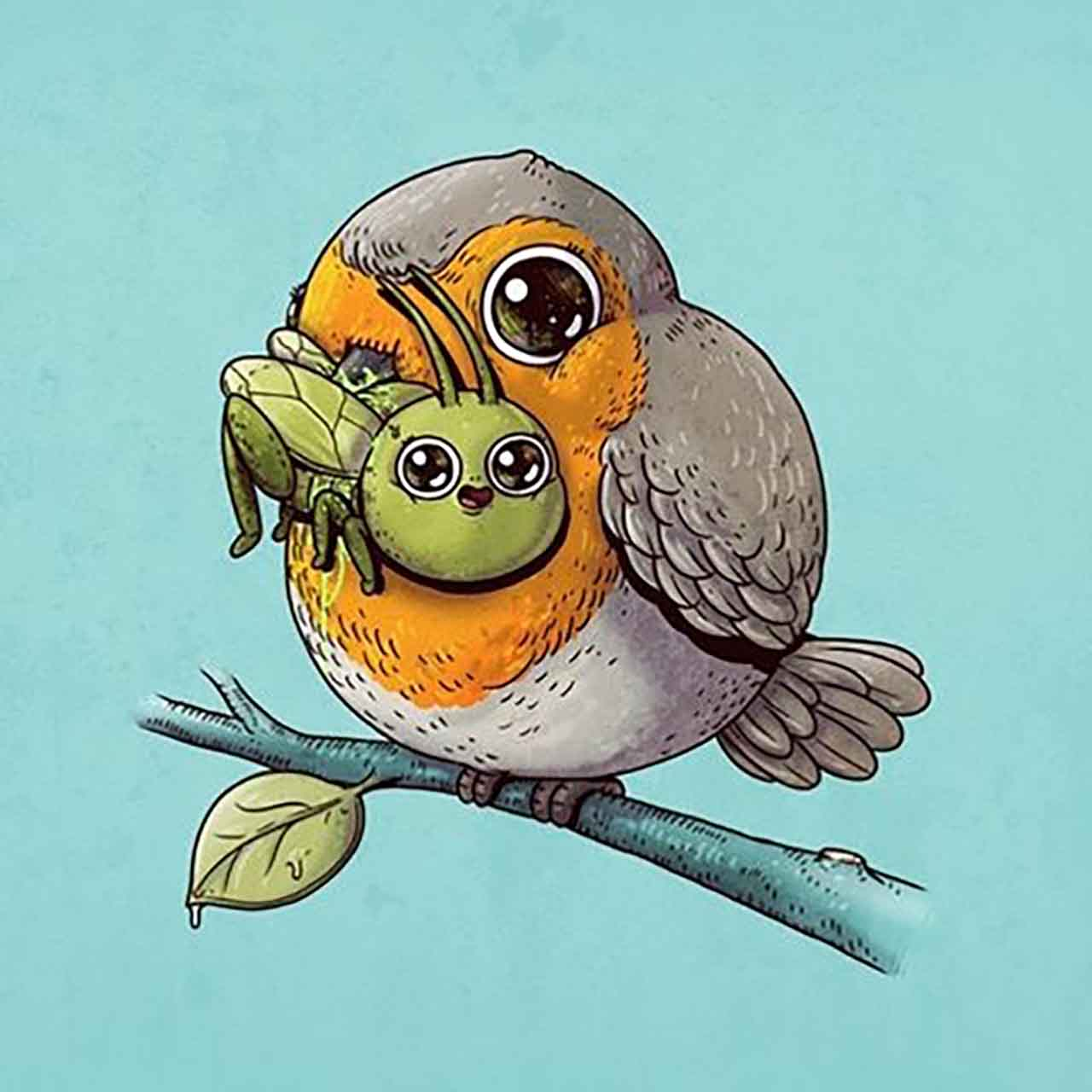 "Artist Creates Extremely Adorable ""Predator & Prey"" Illustrations #1: Robin & Cricket"