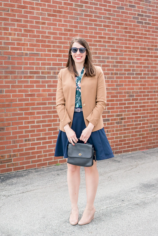 Loft floral print blouse + tan J.Crew regent blazer + navy flare skirt + Target beige wedge heels; spring work outfit | Style On Target blog
