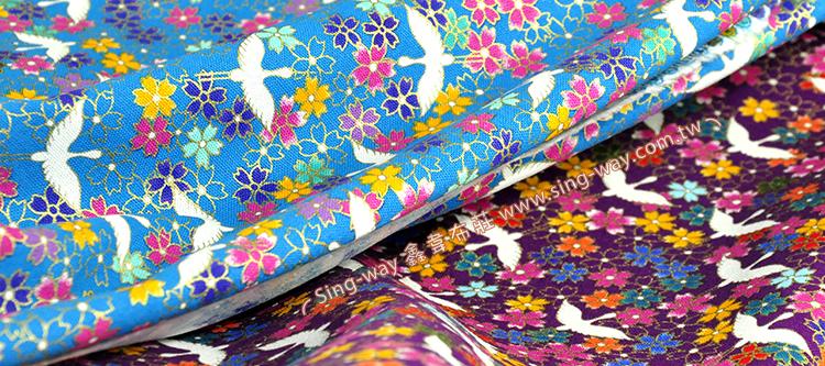 日式樱花 日式和风白鹤花卉 手工艺diy拼布布料 cf550