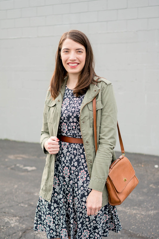 floral print Loft dress + green utility jacket + Target ankle boots + gap leather belt; spring casual outfit | Style On Target blog