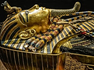 Second inner coffin with lid removed exposing King Tutankhamun's mummy wearing the gold death mask New Kingdom 18th Dynasty Egypt 1332-1323 BCE | by mharrsch