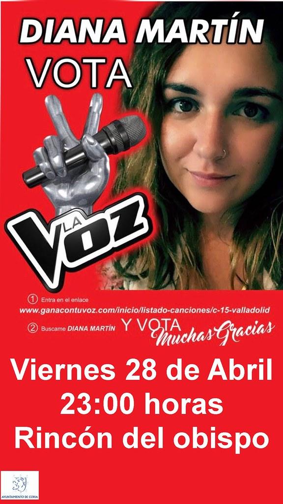 """Vota para que la joven cauriense Diana Martín participe en el casting del concurso musical """"La Voz"""" de Telecinco"""