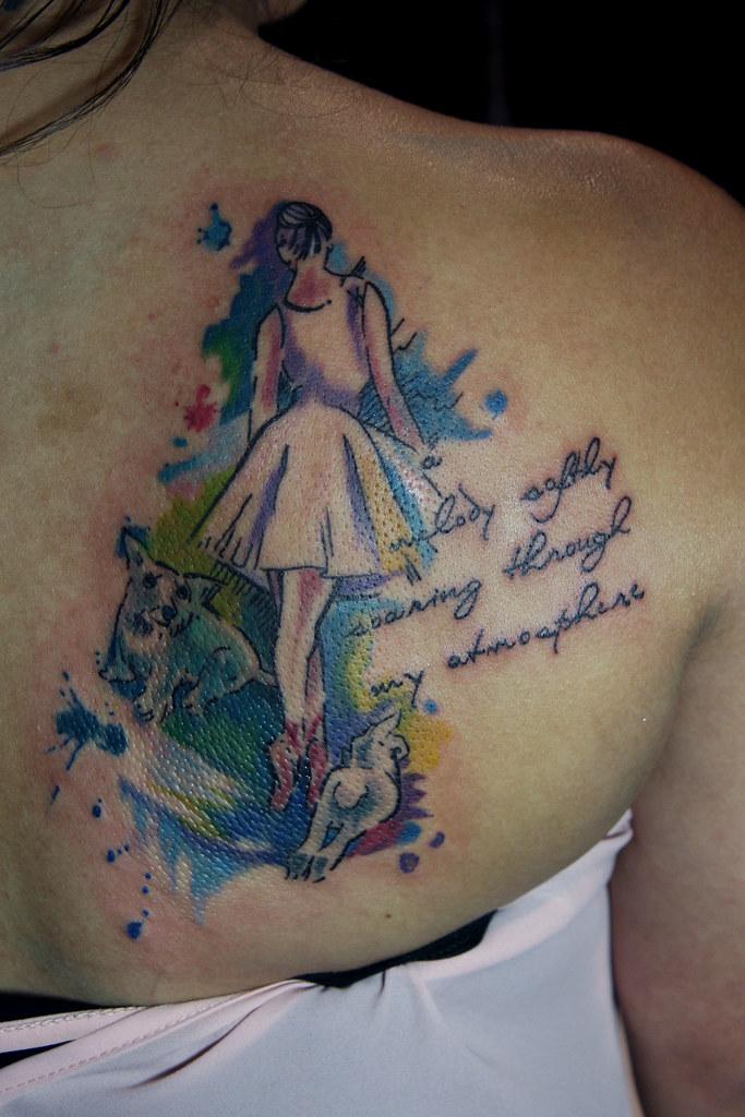 watercolor ballerina tattoo | I tattoo at Tattoo Boogaloo