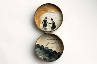 Swimmers  - mixed media assemblage | by paperiaarre