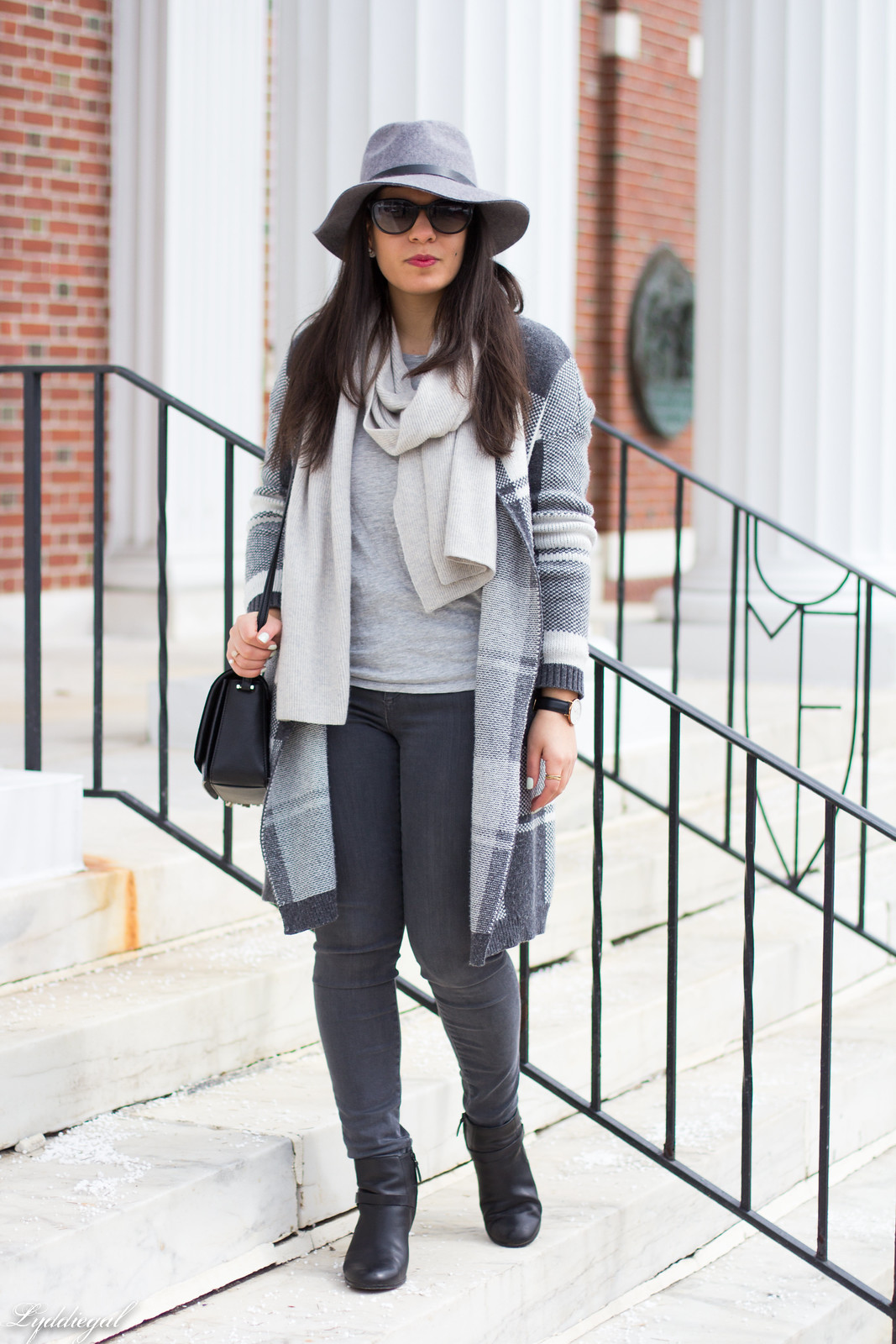 grey plaid cardigan, cashmere scarf, wool hat, grey jeans-3.jpg
