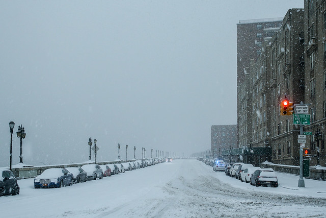 Empty Streets in Washington Heights during Winter Storm Stella