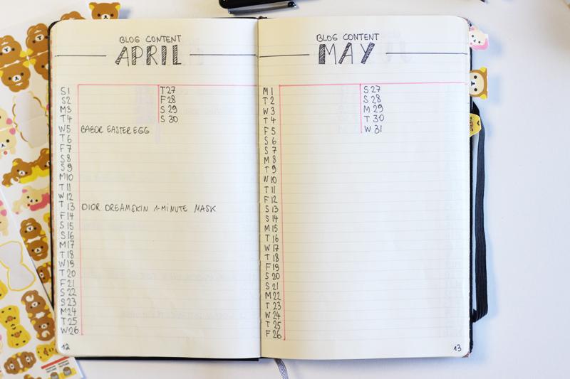 Bullet Journal Blog Content Planner