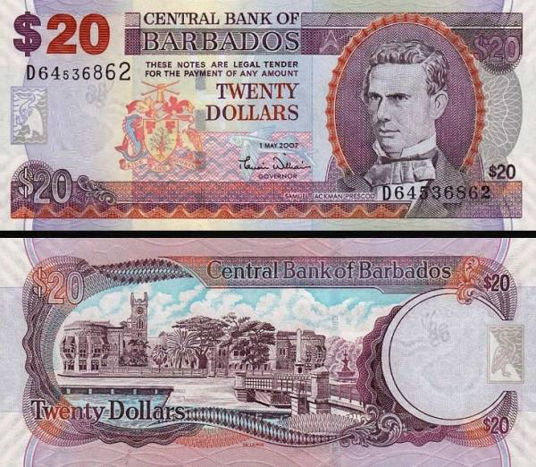 20 Dolárov Barbados 2007, P69a