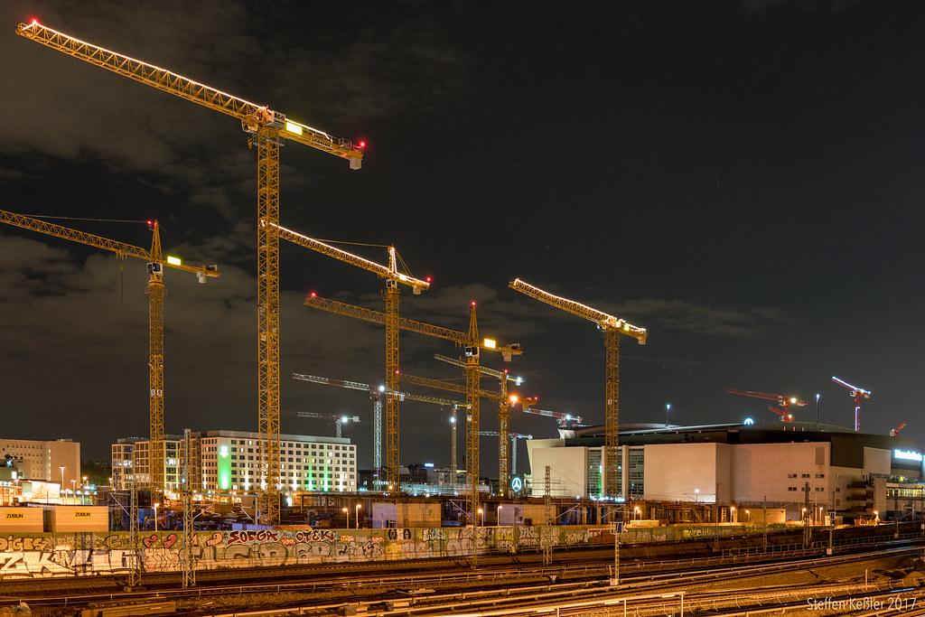 count the cranes construction site east side mall berlin flickr. Black Bedroom Furniture Sets. Home Design Ideas