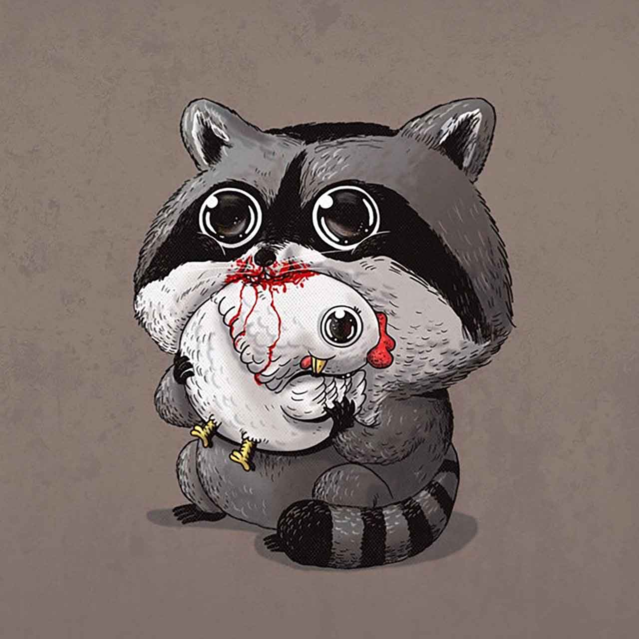 "Artist Creates Extremely Adorable ""Predator & Prey"" Illustrations #32: Raccoon & Chicken"
