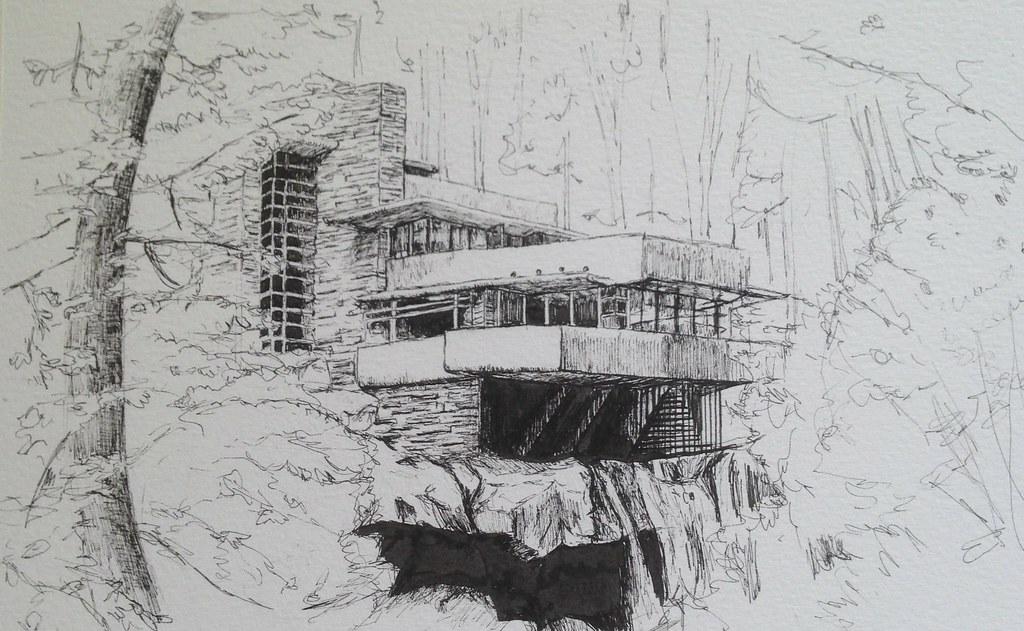 Fallingwater Frank Lloyd Wright Before Watercolour