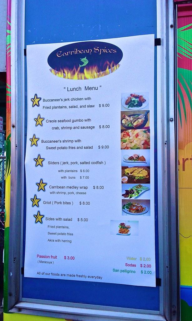 Menu At Carribean Spices Food Truck San Francisco Soma Str Flickr