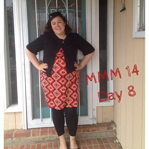 #mmmay14 #memademay day 8! Me made dress (hacked/self drafted) and leggings. Apparently this is the week of crazy patterned dresses! Should be one more for tomorrow... | by thegreenviolet