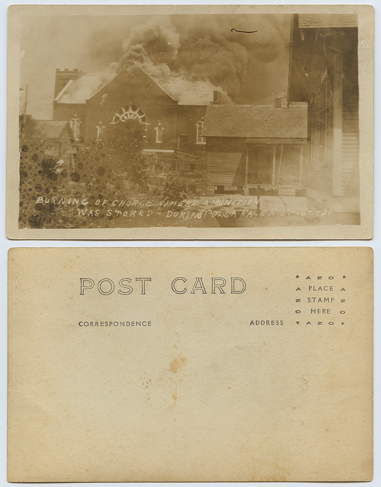 Burning of Church where Amunition [sic] Was Stored - During Tulsa Race Riot, 6-1-21 | by SMU Libraries Digital Collections