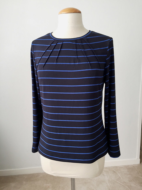 navy blue stripe dart top