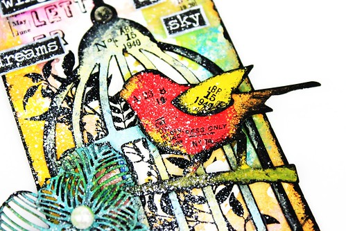 Meihsia Liu Simply Paper Crafts Mixed Media Tag Bird Cage Wings Tim Holtz Simon Says Stamp 3
