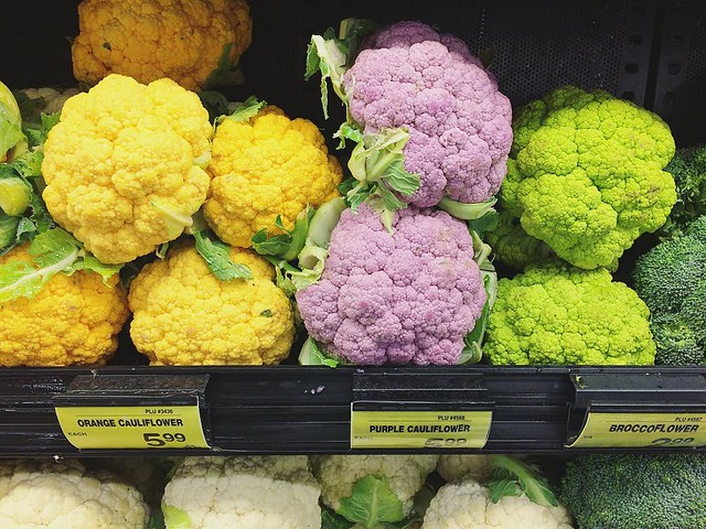 Spring-colored cauliflower. 💛💜💚