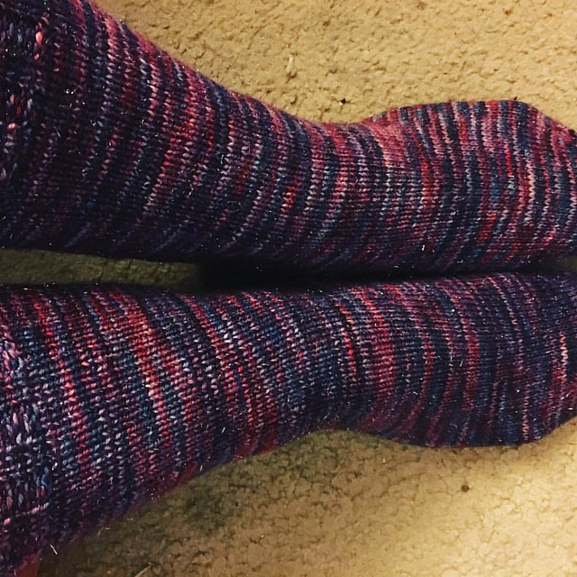 My Birthday socks are done! Before my birthday. DH bought the yarn for me for my last bday. Serenity Glitter sock in San Diego colorway #socks #operationsockdrawer #ravelry