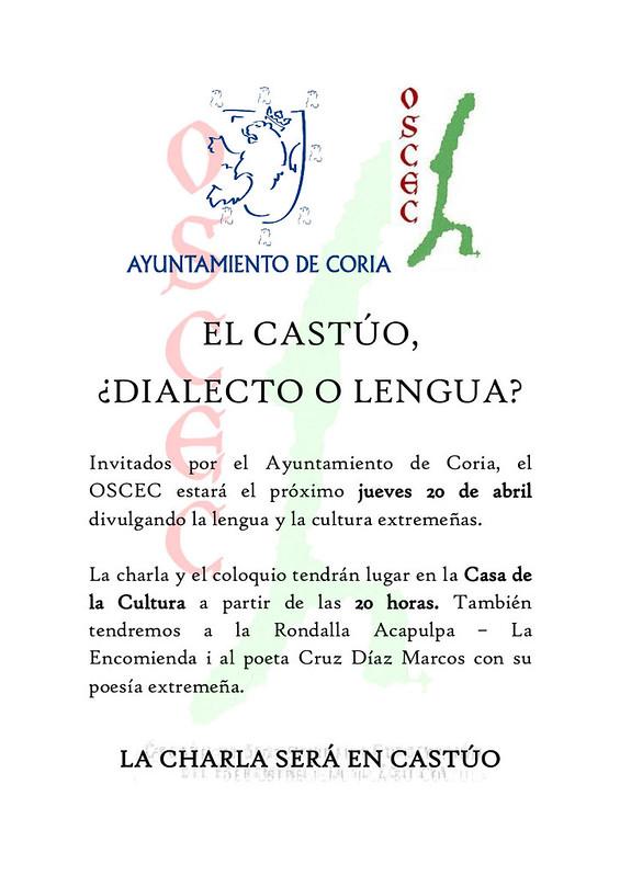 El jueves 20 de abril se realizará la conferencia: El Castúo, ¿Dialecto o Lengua?