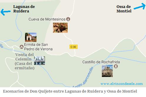 Mapa de escenarios del Quijote próximos a Ossa de Montiel y las Lagunas de Ruidera