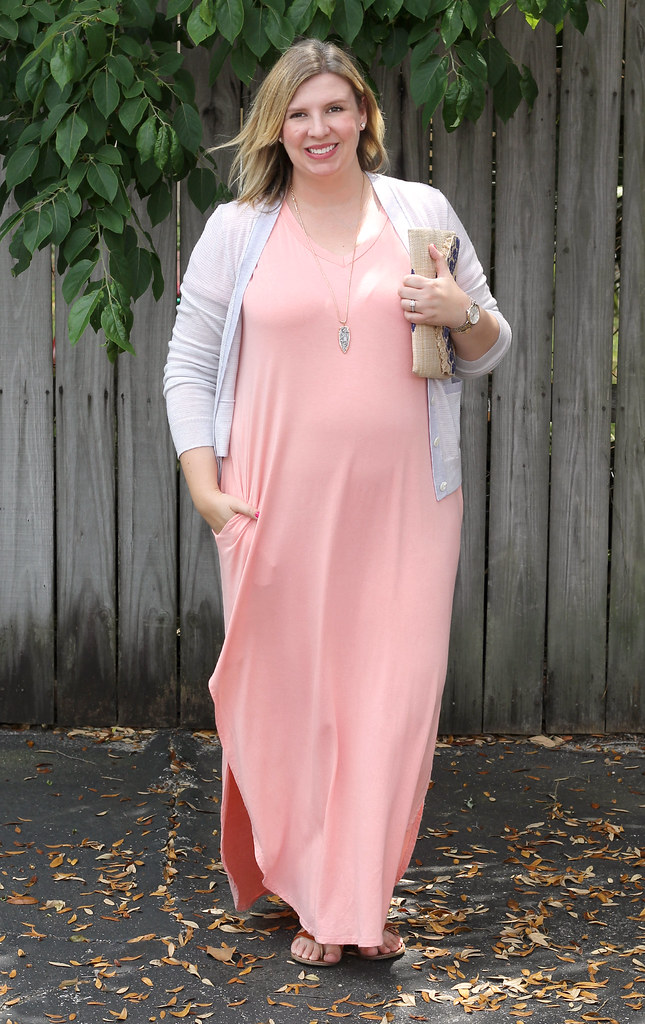 pink oversized maxi, gray stripe cardigan 5