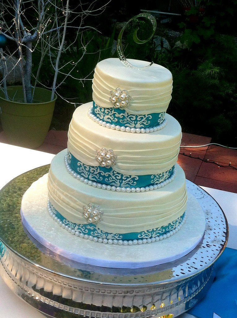 Turquoise Wedding Cake By Sandpoint City Sweets Design