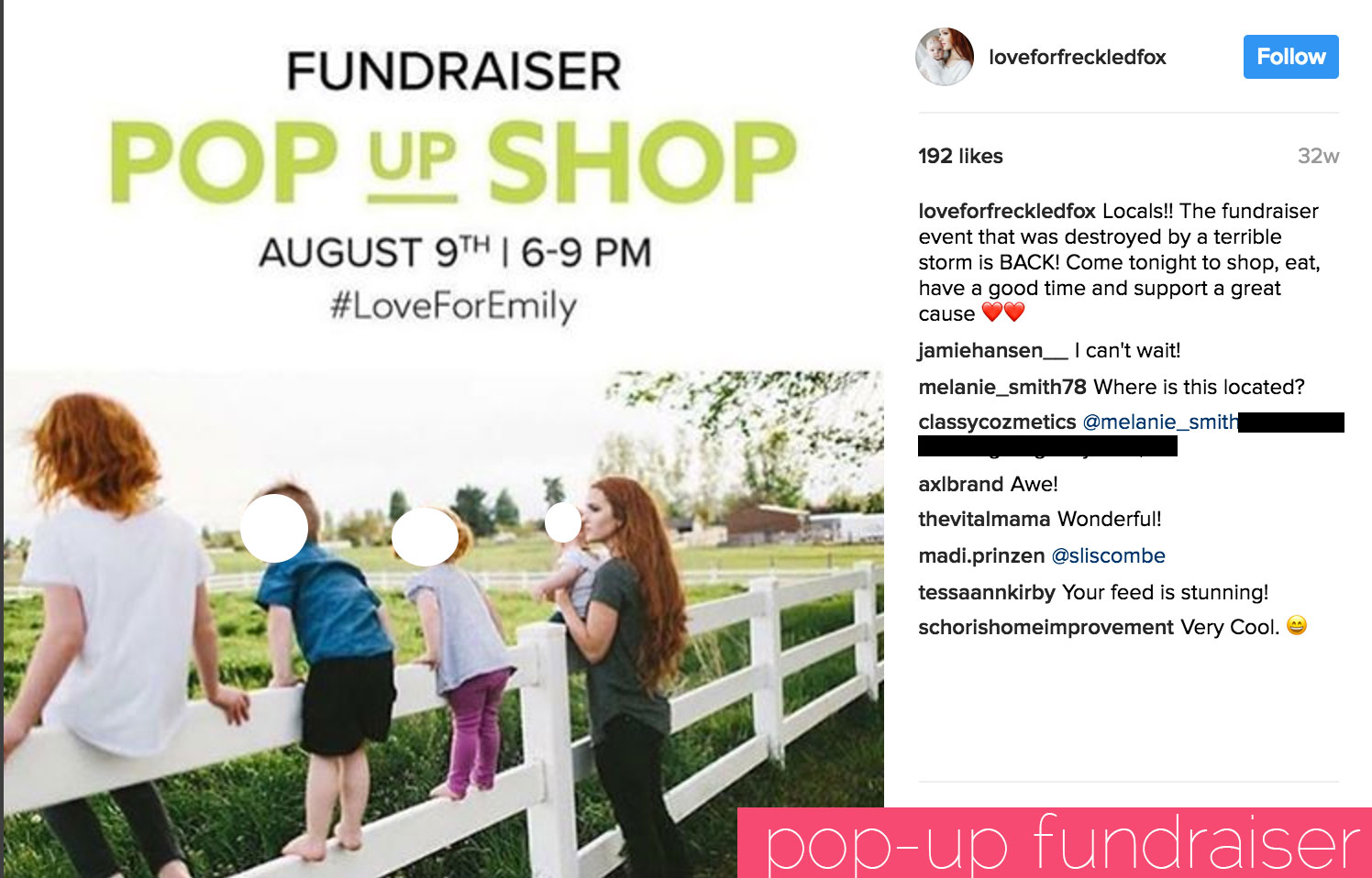 Donations to a pop up shop for Emily Meyers and her children