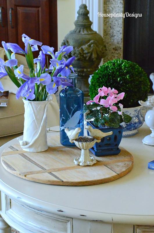 Spring vignette-Irises-Blue and White-Housepitality Designs