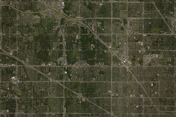 a grid of one square mile sections stretches across detroit and its suburbs