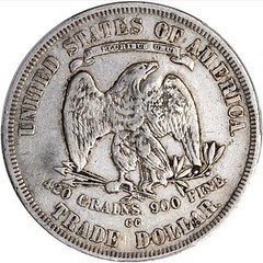 Chopmarked 1878-CC Trade Dollar reverse